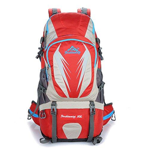Outdoor Neue Bergsteigen Tasche Groß Kapazität Im Freien Rucksack Lässige Kleidung Camping Tasche Red