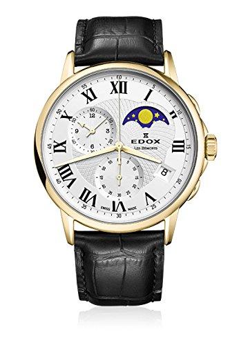 EDOX–Reloj de pulsera hombre Les bémonts Cronógrafo Fase lunar Fecha Cuarzo 0165137J AR