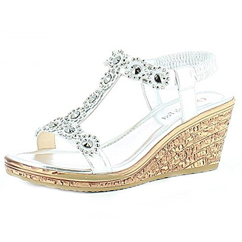 Heavenly Feet ,  Damen Durchgängies Plateau Sandalen Silber