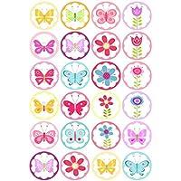 24 bonitas flores de colores y mariposas mariposas imágenes de mariposa decoración para tartas 4 cm