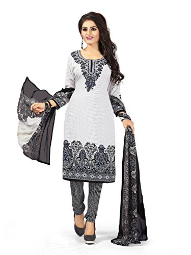 VARAYU Women's White and Black Crepe Casual wear Ethnic Printed Dress Material(699DJ54)