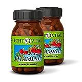 Natürliches - ECHT VITAL Vitamin C - 100 % Acerola-Fruchtpulver mit 420 mg pro Kapsel - 2 Gläser mit jeweils 60 Kapseln