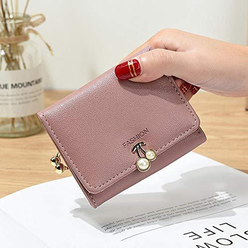 Kirsche Brieftasche weibliche Kurze Perle Falten In g Brieftasche kleine frische M In i Co In Purse Purple @ A9625 -