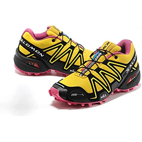 Salomon Mujer 's Speed Cross 3 Trail Running Shoes Breat heable unidad Sport Guantes Footwear Light Runner Sneakers Trainers Cushioning Racing Athletic Jogging Run Competición Yellow Rosa, mujer, Yellow Pink,