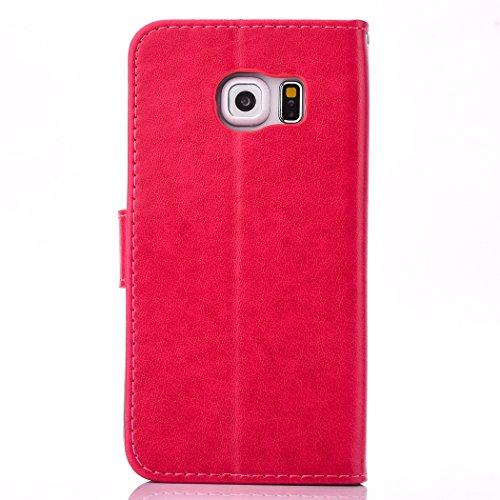 iPhone 6 Plus Custodia, iPhone 6 Plus Cover,Cozy Hut® Elegante Borsa in Pelle Custodia Case Cover Protezione Chiusura Ventosa, Fiore di farfalla Design Case farfalla Pattern - Custodia in pelle con su rosso