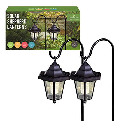 Benross GardenKraft 18240 Solarlaterne für Garten Metall Hirtenstab 2 Stück