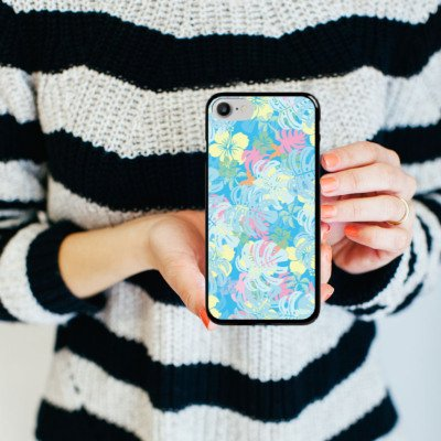 Apple iPhone X Silikon Hülle Case Schutzhülle Sommer dschungel pastell Hard Case schwarz