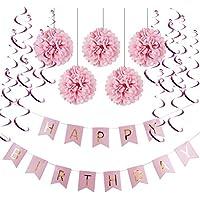 Decoration Anniversaire HAPPY BIRTHDAY Guirlandes Fanions Kit Pompons Guirlande à Spirales Suspension Décoratives (Rose)