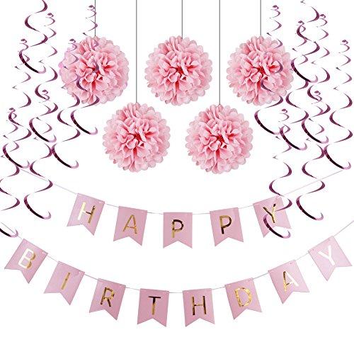 Decoration Anniversaire HAPPY BIRTHDAY Guirlandes Fanions Kit Pompons Guirlande à Spirales Suspension Décoratives (Rose) 74e1738f-64e8-42ac-8559-2d633fea66a5