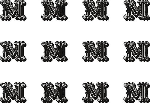 12x m (Buchstabe) schwarz und weiß 38mm (3,8cm) vorgeschnittenen Essbares Reispapier Cupcake Dekoration # 25