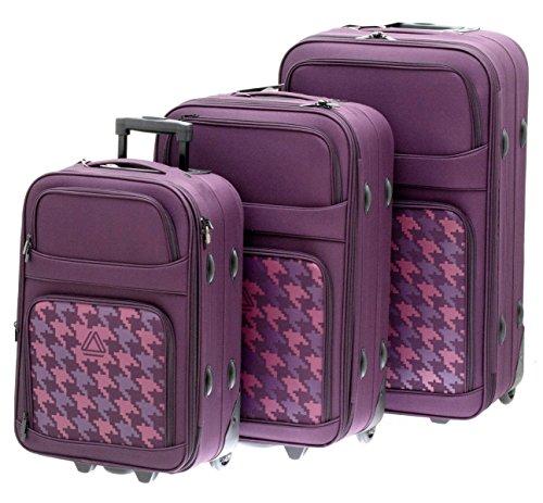 Koffer Bowatex Trolley Reiseset 3er Set Bordeaux Stoff Polyester Ribstop 271 010