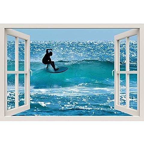 Fensterrahmen Wandbild Surfer–Große Größe–schälen und Stick Stoff Illusion 3D Wand Aufkleber Foto (Illusion Glas Schiff)