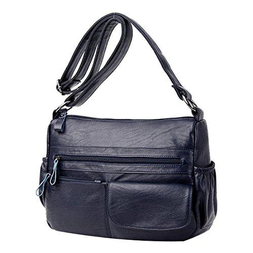 Sacchetto Di Spalla Di Modo Delle Donne Sacchetto Di Cuoio Del Sacchetto Di Cuoio Lady Tote Crossbody Bag Multicolor Blue