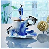 Vista Creations Dolphin Pattern Porcelain Coffee Mug with Dish and Spoon, Blue