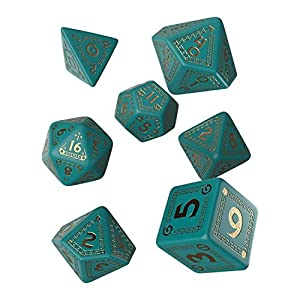 Q WORKSHOP RuneQuest Turquoise & Gold RPG Dice Set 7 Polyhedral Pieces