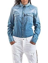 Meltin'Pot - Jeans Chemise CLEA D1900-UH397 pour femme, style slim, taille slim, manches longues