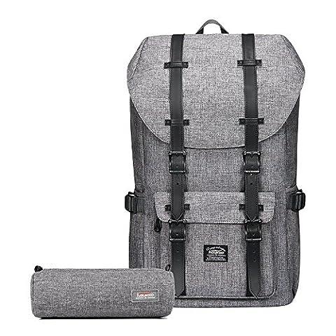 """Rucksack Damen Herren Schulrucksack KAUKKO 17 Zoll Laptop Backpack für 15"""" Notebook Lässiger Daypacks Schultaschen of 2 Side Pockets für Wandern Reisen Camping (grau(2pcs))"""