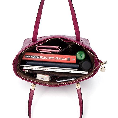 BOSTANTEN Handtaschen Damen Leder Umhängetasche Schultertasche Shopper Tasche Grün Rosenrot