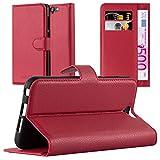 Cadorabo DE-105715 HTC ONE A9 Handyhülle mit Kartenfach und Standfunktion Rot