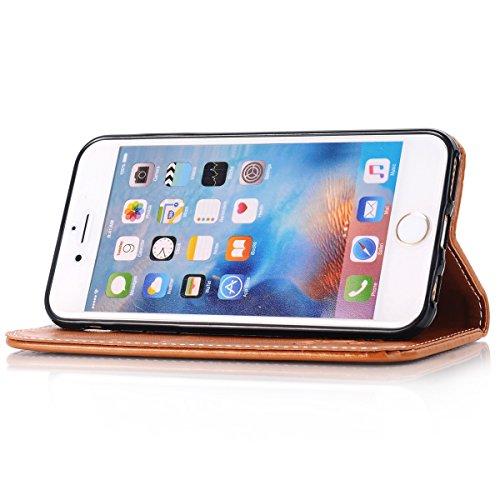 Apple iPhone 6S Hülle,iPhone 6 PU Lederhülle Tasche,Ekakashop Retro Blume Muster Bookstyle flip Buchstil Schale Tasche Brieftasche Wallet Case Schutzhülle Klapptasche Etui Magnetverschluß mit Standfun Braun