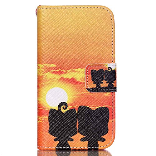 Meet de Apple iPhone 4S Bookstyle Étui Housse étui coque Case Cover smart flip cuir Case à rabat pour Apple iPhone 4S Coque de protection Portefeuille - Yeux bleus Don't touch my phone Sunset Ali