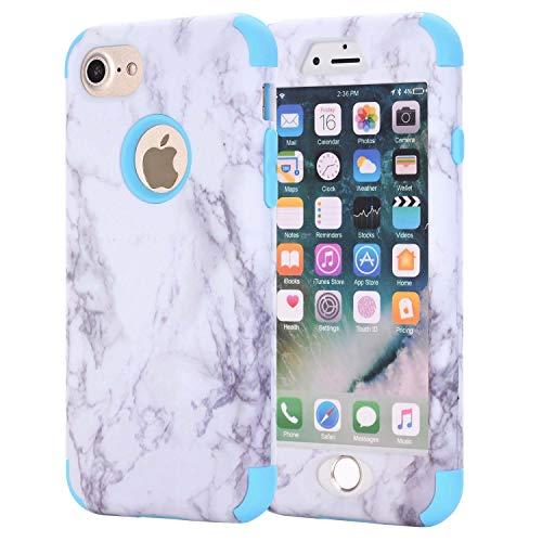 iPhone 6Plus Case, aoker Marmor Design Slim Dual Layer Kratzfest stoßfest Hard Back Cover Soft Silikon Schutzhülle passgenau für iPhone 6Plus 6S Plus 14cm, blau - Sechs Iphone Gelb Otterbox