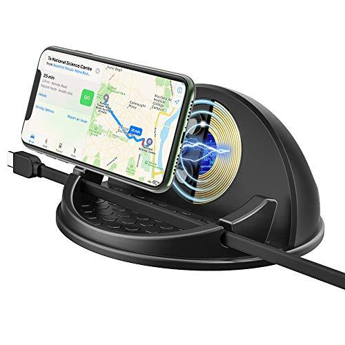 MoKo Caricatore Cellulare Auto Wireless Qi, Supporto Ventosa, Accessori Auto Supporto Caricatore per Cellulari iPhone 11/11 Pro/11 PRO Max/XS MAX/XS/XR/X/8/8 Plus, Galaxy Note 10/S10/S9/S8+ - Nero