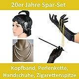 Foxxeo 50007 | Spar-Pack | schwarze 20er Jahre Kopfband, Zigarettenspitze, Handschuhe und Perlenkette | Mafia Charleston Set