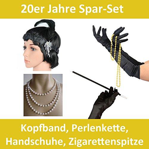 Foxxeo 50007 | Spar-Pack | schwarze 20er Jahre Kopfband, Zigarettenspitze, Handschuhe und Perlenkette | Mafia Charleston Set (20er Jahre Zigarettenspitze)