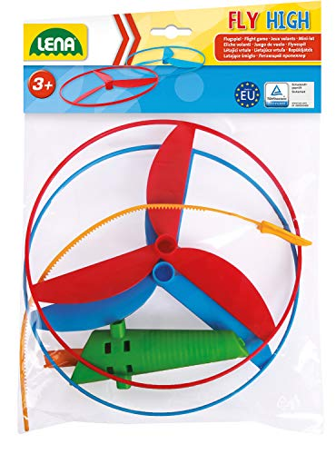 Lena 61290 Propeller Flugspiel Fly HIGH, Flugspielzeug mit 2 Rotoren ca. 18 cm und Startervorrichtung, Propellerspiel mit Kindersicherung, Flugspielset für Kinder ab 36m+, bunt