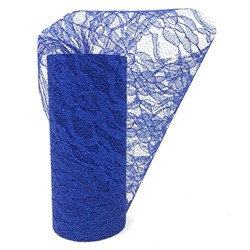 Funkeln-Spitze-Rollen-Tabellen-Läufer-Stuhl-Schärpe für Hochzeitsfest-Ereignis-Stuhl-Tabellen-Dekoration 15 cm * 22m (Navy blau) (Blau Tabelle)