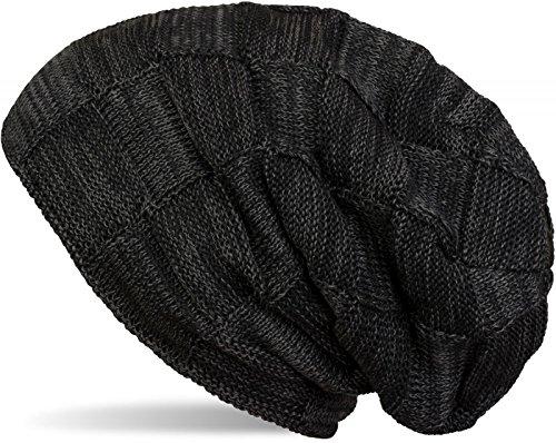 styleBREAKER warme Feinstrick Checked Beanie Mütze mit Flecht Muster uns sehr weichem Fleece Innenfutter, Unisex 04024090, Farbe:Schwarz (Tartan-ski)