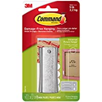 Command Sawtooth Sticky Nail and Stabiliser Strips - Silver, Pack of 1