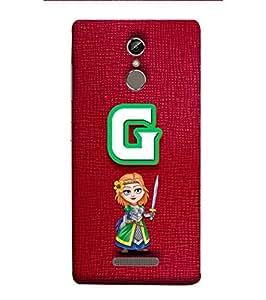 YuBingo Designer Printed Plastic Mobile Back Case Cover Panel for Gionee Elife S6S ( Gorgeous Letter G (Girlie Girly Comic Knight Printed on Plastic) )