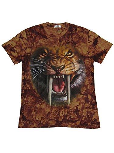 T-Shirt mit hochwertigem 3D Druckmotiv Säbelzahntiger (Größe:XXL)