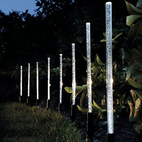 Garden mile® 8 X LED SOLAR LIGHT CRYSTAL BUBBLE STICK SOLAR POWERED RECHARGEABLE BATTERIES GARDEN LIGHTS BORDER POST LIGHTING, UNIQUE BRIGHT SOLAR LIGHTS OUTDOOR, 8 SOLAR LIGHT SET,GARDEN OR PATH LIGHTING,WIRELESS & WATERPROOF
