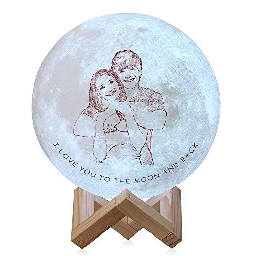 Version personnalisée d'esquisse personnalisée lune 16 couleurs Photo personnalisée lumière de charge Moon Night Light USB lumière de charge pour enfants cadeau cadeau de Noël pour femmes enfants