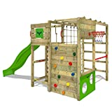 FATMOOSE Climbing Frame FitFrame Fresh XXL Playtower Playground with Balancing Board, Monkey Bars, Various Climbing ladders, Climbing net and Slide