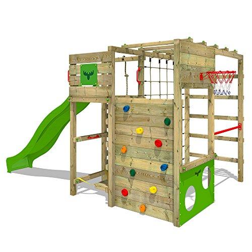 FATMOOSE Klettergerüst FitFrame Fresh XXL Kletterturm Spielturm für den Garten mit Wackelbrett, verschiedenen Kletterleitern, Kletternetz und apfelgrüner Rutsche 2