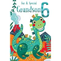 Special Grandson 6th Age 6 Today Cute Dinosaur Happy Birthday Card Lovely Verse
