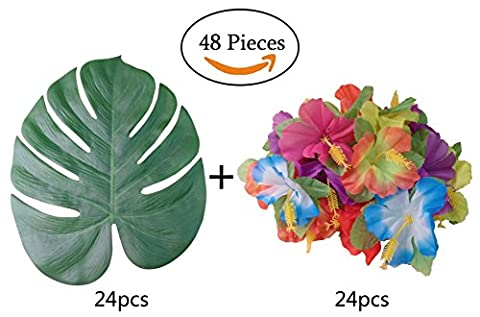 Feuilles de palmier artificielles 33cm et fleurs d'hibiscus pour Hawaiian Luau Party Décoration de table Lot de 48
