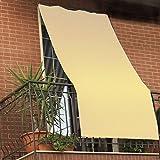 Tenda da sole per esterno tinta unita con anelli per balcone, terrazzo, casa - Cm 150x250 - Panna