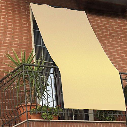 Galleria fotografica Coppia tende da sole per esterno tinta unita con anelli per balcone, terrazzo, casa - Cm 150x250 - Panna