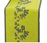 exklusiv-heimtextil Tisch Set Tischläufer mit Anti Rutsch Funktion apfelgrün Ranke 40 x 150 cm