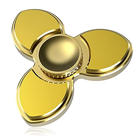Finger Spinners,Cheeringary 3 Leafs Pure Brass Tri Spinner (Spins 5 to 7 Mins) Anti-Anxiety Fingertip Gyro EDC Focus Fidget Toy High Speed Bearing Hand Spinner for Killing Time,Stress Reducer