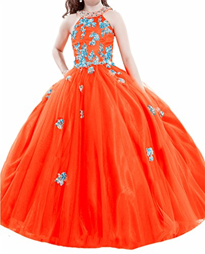 PuTao Blumen Mädchen Spitze Hochzeitsfeier Prinzessin Ball Pageant Kleider Orange Blue (Kleines Mädchen Pageant Kostüme)