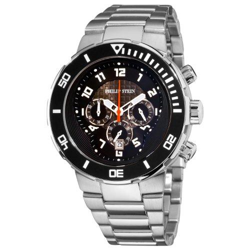 Philip Stein - 33-XB-SS - Montre Homme - Quartz Analogique - Cadran Noir - Bracelet Acier Inoxydable Argent