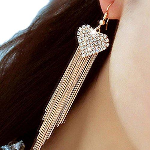 Mujers Pendientes,Xinan Elegante del Cristal del Rhinestone Aretes Oro Plata (Oro)