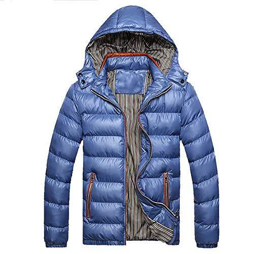 Hommes Mince Doudoune Souple Chaud Slim Fit DéTachable Manteau Veste Blouse Blouson Pardessus Hiver Autumne Casual Sweatshirt Sport Pullover Bleu XXL