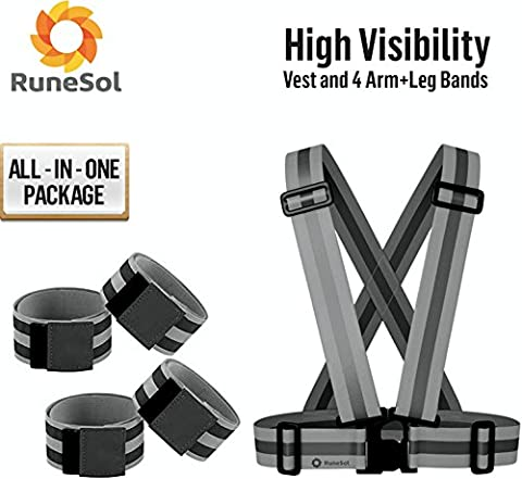RuneSol Reflective Vest & 4 Arm/Leg Bands Set - Black High Visibility Set Of Unisex Reflective Waist Belt Vest + 4 Reflective Arm/ Leg Bands- Top Safety In Jogging, Cycling, Biking, Dog Walking In The